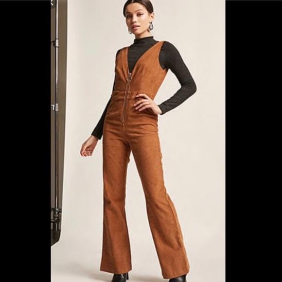 f3daf939e Forever 21 Pants | Brown Corduroy Jumpsuit | Poshmark